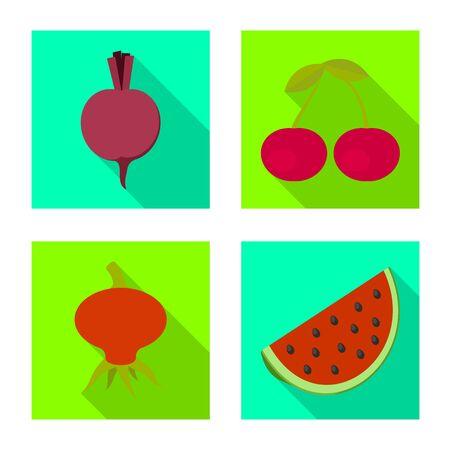 Disegno vettoriale di frutta fresca e rossa. Raccolta di simbolo di borsa fresco e biologico per il web.