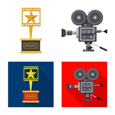 Isolated object of television and filming symbol. Collection of television and viewing stock symbol for web. Çizim