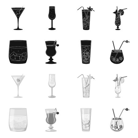 Vector design of liquor and restaurant. Collection of liquor and ingredient vector icon for stock.