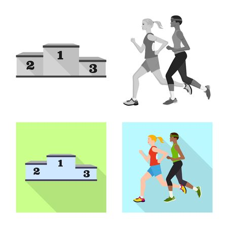 Isolated object of sport and winner icon. Set of sport and fitness stock symbol for web. Фото со стока - 129652703