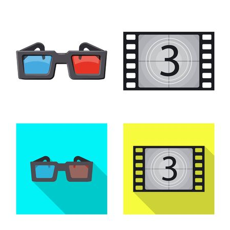 Vector illustration of television and filming symbol. Collection of television and viewing stock vector illustration. Çizim