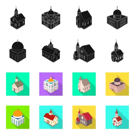 Vector illustration of temple and historic symbol. Collection of temple and faith vector icon for stock.