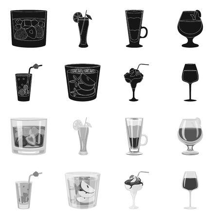 Vector design of liquor and restaurant symbol. Set of liquor and ingredient stock vector illustration. Çizim