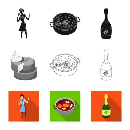 Isolated object of farm and vineyard. Set of farm and product vector icon for stock.  イラスト・ベクター素材