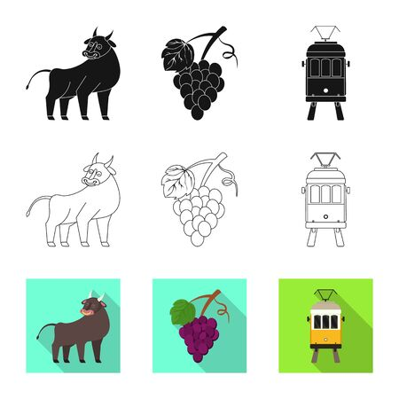 Vector design of and historic icon. Set of and country vector icon for stock. Çizim