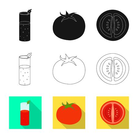 Vector design of vegetable and delicious icon. Set of vegetable and natural vector icon for stock.  イラスト・ベクター素材