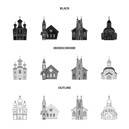 Vector design of cult and temple icon. Set of cult and parish stock vector illustration. Illustration