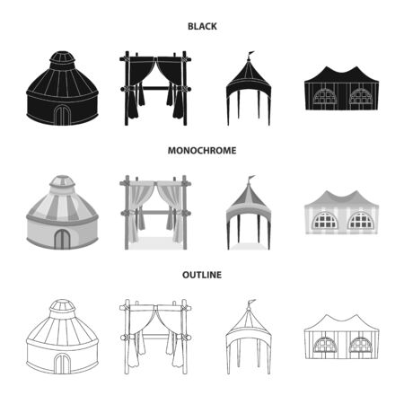 Vector illustration of roof and folding. Collection of roof and architecture stock vector illustration.