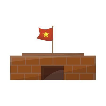 Vector design of building and mausoleum. Collection of building and vietnamese stock symbol for web.