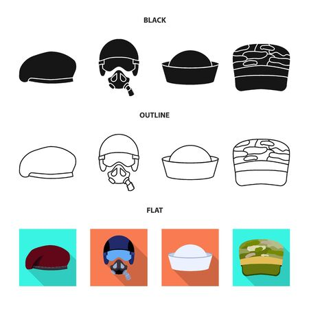 Isolated object of headdress and clothing icon. Collection of headdress and armed vector icon for stock.