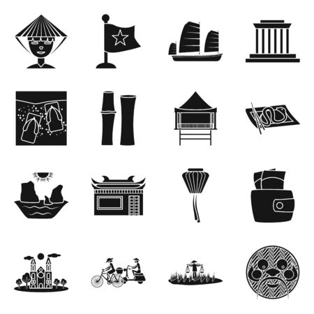 Vector design of vietnam and traditional icon. Collection of vietnam and culture stock vector illustration. Illustration