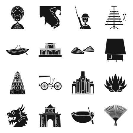 Vector illustration of travel and country. Set of travel and landmark vector icon for stock.