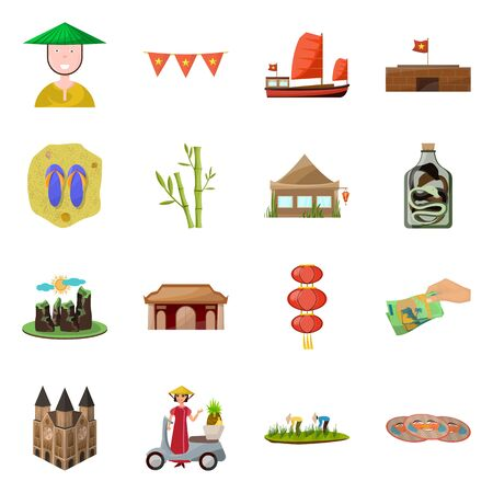 Isolated object of vietnam and traditional. Collection of vietnam and asia stock symbol for web.