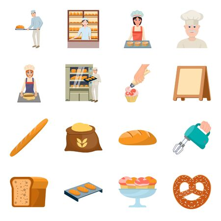 Vector illustration of bakery and natural symbol. Set of bakery and utensils stock symbol for web.