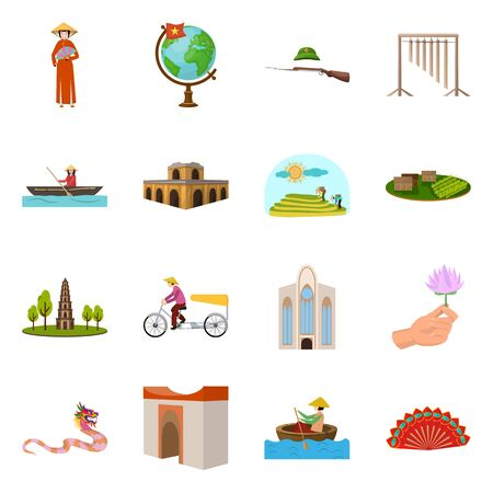 Vector illustration of travel and country icon. Collection of travel and culture vector icon for stock. Illustration