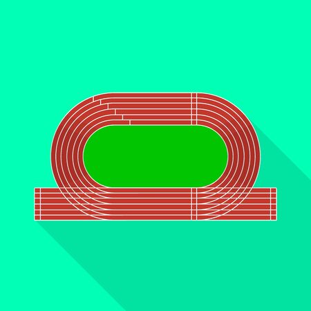 Vector illustration of stadium and athletics icon. Set of stadium and race stock symbol for web.