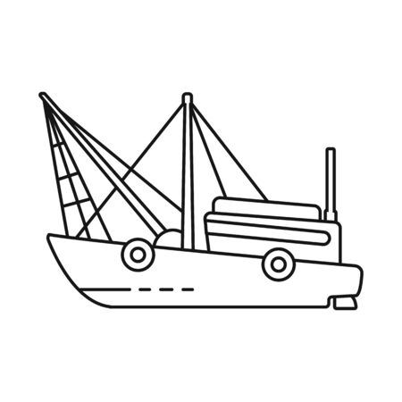 Vector illustration of ship and fishery. Collection of ship and vessel stock symbol for web.