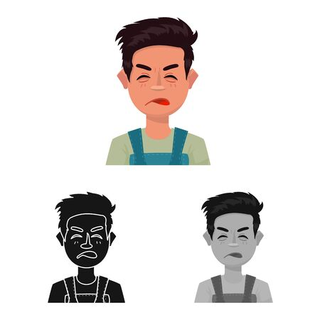 Vector design of guy and contempt sign. Set of guy and surprised stock symbol for web. Illustration