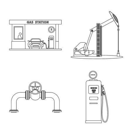 Vector illustration of oil and gas icon. Set of oil and petrol vector icon for stock. Illustration