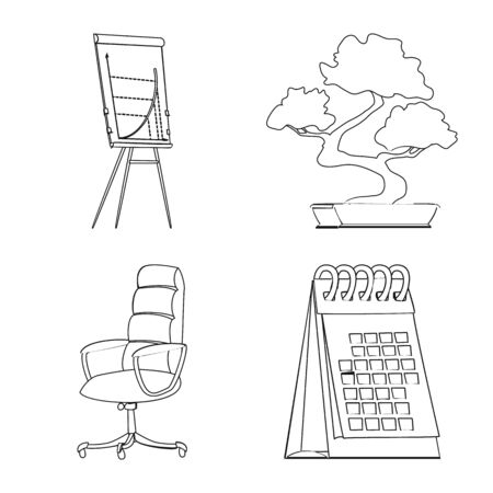 Vector design of furniture and work  . Set of furniture and home stock vector illustration.