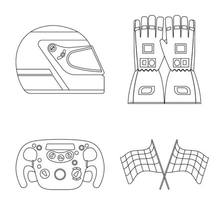 Vector illustration of car and rally. Collection of car and race stock vector illustration.