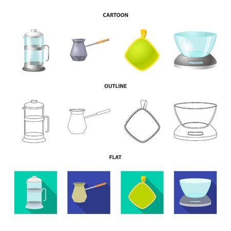 Vector illustration of kitchen and cook symbol. Collection of kitchen and appliance stock vector illustration. Çizim