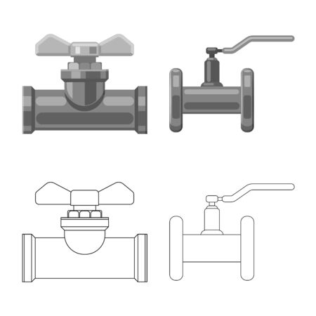 Vector illustration of pipe and tube icon. Collection of pipe and pipeline stock symbol for web. 向量圖像