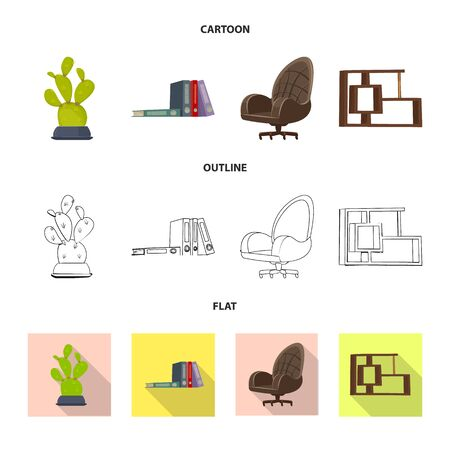 Isolated object of furniture and work  . Collection of furniture and home stock symbol for web.