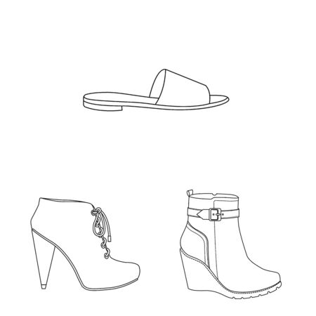 Isolated object of footwear and woman . Set of footwear and foot stock symbol for web.