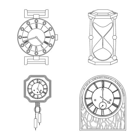 Vector design of clock and time icon. Set of clock and circle vector icon for stock. 向量圖像