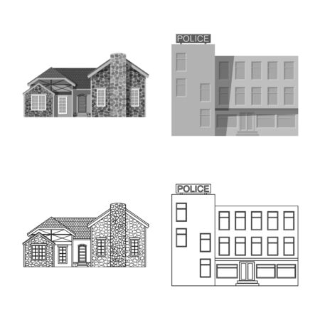 Vector illustration of building and front symbol. Collection of building and roof stock symbol for web. Ilustrace