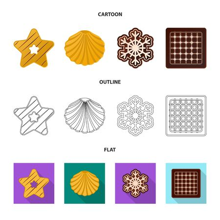 Vector illustration of biscuit and bake . Set of biscuit and chocolate stock vector illustration.