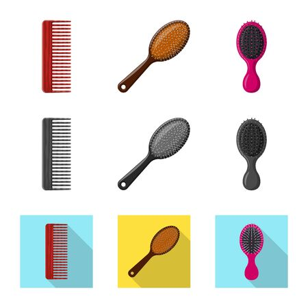 Vector design of brush and hair . Collection of brush and hairbrush vector icon for stock.