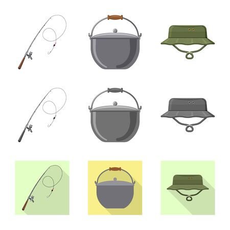 Isolated object of fish and fishing icon. Collection of fish and equipment stock vector illustration.