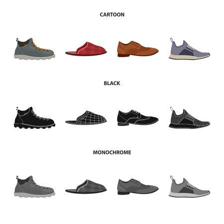 Vector design of shoe and footwear symbol. Collection of shoe and foot stock vector illustration.