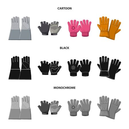 Isolated object of glove and winter icon. Set of glove and equipment vector icon for stock. 写真素材 - 130030444