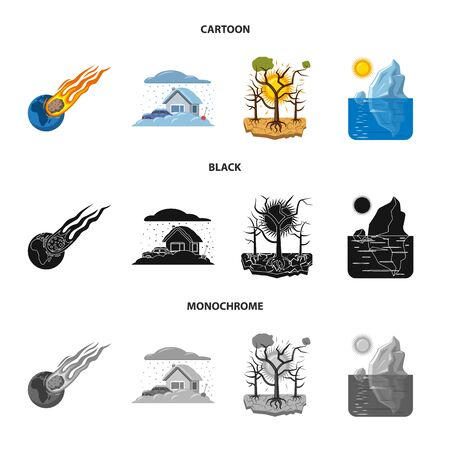 Vector illustration of natural and disaster symbol. Collection of natural and risk stock symbol for web.