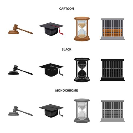 Vector design of law and lawyer symbol. Set of law and justice vector icon for stock. Standard-Bild - 130030445