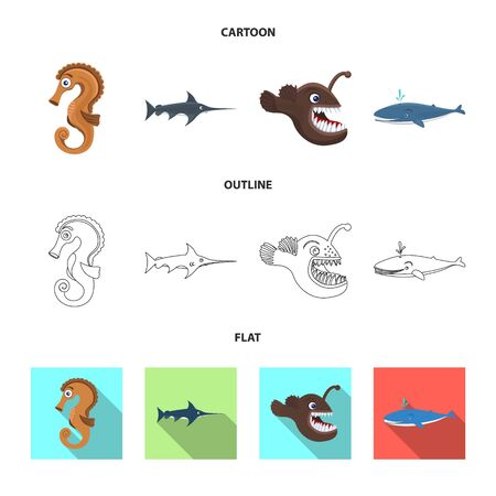 Vector illustration of sea and animal icon. Set of sea and marine stock symbol for web. 일러스트