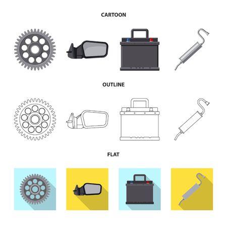 Objeto aislado de símbolo de auto y pieza. Colección de ilustraciones vectoriales de stock de automóviles y automóviles.