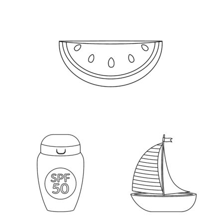 Vector illustration of equipment and swimming icon. Collection of equipment and activity stock symbol for web.