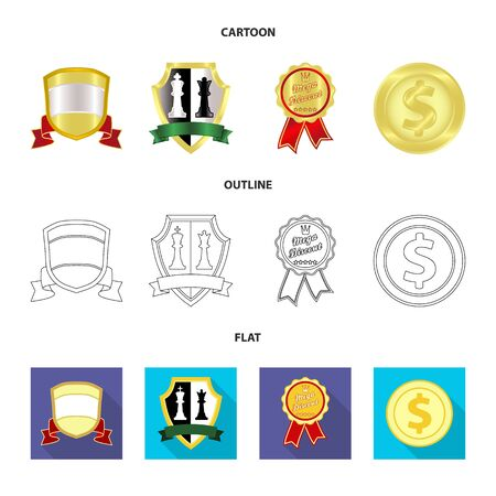 Vector illustration of emblem and badge sign. Collection of emblem and sticker stock vector illustration.