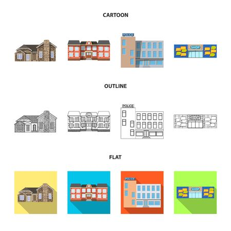 Vector illustration of building and front sign. Collection of building and roof stock vector illustration. Ilustrace