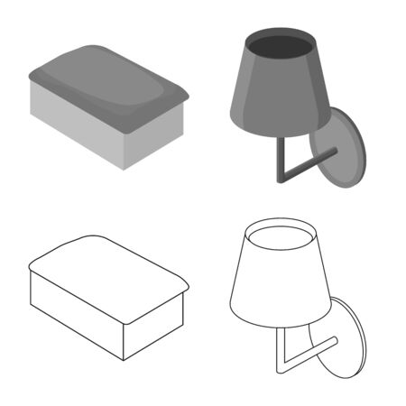Isolated object of bedroom and room  . Set of bedroom and furniture stock symbol for web.