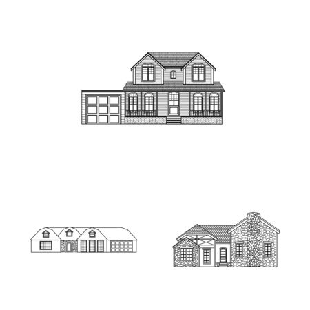 Vector illustration of building and front  . Collection of building and roof stock symbol for web. Illusztráció