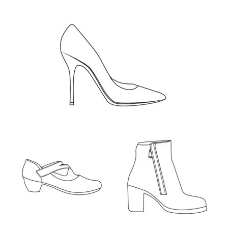Isolated object of footwear and woman icon. Collection of footwear and foot stock symbol for web.