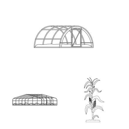 Isolated object of greenhouse and plant sign. Set of greenhouse and garden vector icon for stock. Banque d'images - 129925709