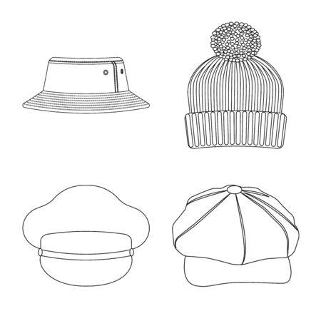 Vector design of headgear and cap symbol. Collection of headgear and accessory vector icon for stock. Иллюстрация