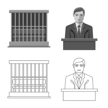 Vector design of law and lawyer icon. Collection of law and justice vector icon for stock. Standard-Bild - 129925715