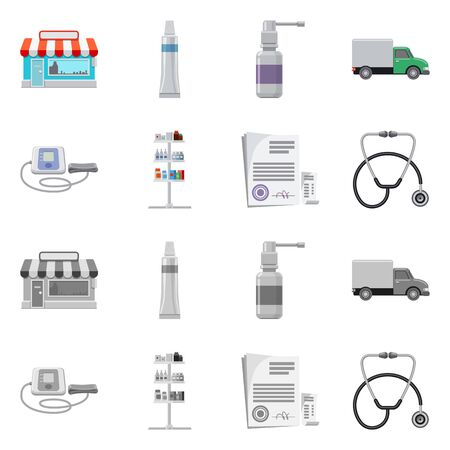 Vector illustration of pharmacy and hospital. Collection of pharmacy and business stock vector illustration.